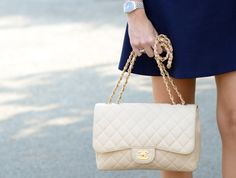 Please please please? Chanel classic flap bag with dual straps, medium. In white (or black). $1600