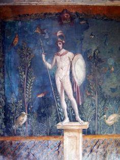 Fresco of a Statue of Mars, Pompeii (Illustration) - Ancient History Encyclopedia Ancient Pompeii, Pompeii And Herculaneum, Ancient Art, Ancient History, Ancient Aliens, Classical Antiquity, Classical Art, Roman History, Art History
