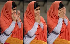 Nobel Peace Prize winner Malala Yousafzai from Pakistan, puts her hands to her face as she sits during the Nobel Peace Prize award ceremony in Oslo, Norway