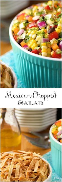 Chopped Salad The freshest, healthiest, most summery salad with lots of Southwestern flair!The freshest, healthiest, most summery salad with lots of Southwestern flair! Mexican Chopped Salad, Mexican Salads, Mexican Dishes, Mexican Food Recipes, Vegetarian Recipes, Cooking Recipes, Healthy Recipes, Chopped Salads, Avocado Recipes