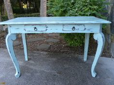 Vintage Writing Table Desk Painted with Annie Sloan Chalk Paint Distressed | eBay