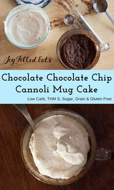 A rich chocolate cake topped with a light and fluffy cannoli icing. Perfection in a mug. Chocolate Chocolate Chip Cannoli Mug Cake - Low Carb, Sugar Free, Grain Free, THM S via @joyfilledeats