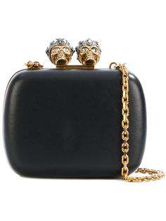 Shop Alexander McQueen queen and king skeleton box clutch. Leather Box, Black Leather Tote, Leather Clutch, Clutch Bag, Leather Purses, Leather Handbags, Diy Clutch, Real Leather, Alexander Mcqueen Handbags