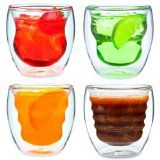 Curva Artisan Series Double Wall Beverage Glasses and Tumblers - Unique 8 oz Thermo Insulated Drinking Glasses, Set of 4 ❤ Ozeri Kitchen Thermos, Tumblers, Verre Design, Glass Design, Cool Glasses, Funky Glasses, Thing 1, Party Drinks, Tea Cocktails