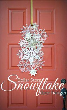 Holiday decorating - DIY Dollar Store Snowflake Door Hanger