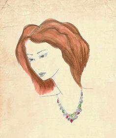 Fashion Sketch Portrait on Antique Fashion Illustration by Zoia, $15.00