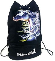 Drawstring Bag Backpack Sack 100 Cotton Canvas Graphic Print 15 x 10 HorseWhite >>> Check out this great product.