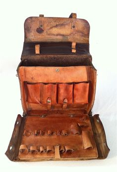 Vintage leather tool bag ...would love to find a bag like this for Danny - bags in bag, side bags ladies, womens shopper bag *ad