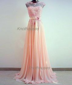 Sheer Lace flower Beaded Pink Chiffon Prom dresses/ V-back chiffon dress  This dress can be custom made, both size and color can be custom made. Custom size and color made will charge for no extra. If you need a custom dress, please send us messages for your detail requirements.  For custom s...