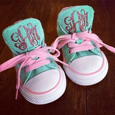 GLITTER MONOGRAM Baby, Toddler, Kids Chuck Taylor Converse by SweetGeorgiaDesigns on Etsy https://www.etsy.com/listing/178889731/glitter-monogram-baby-toddler-kids-chuck