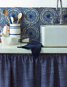 Old blue & white ceramic tiles in the kitchen.