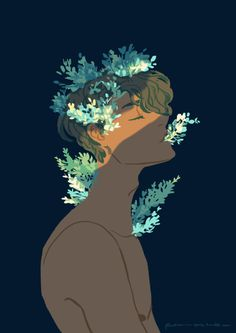 Guy with flowers growing out of him. Artist is in the bottom right corner