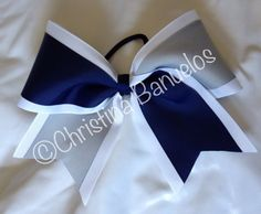 Tick Tock Navy Blue Silver White Cheer Bow by TheBowForce on Etsy, $10.00