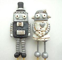 Wedding Cake Topper Black and White Robots by indigotwinweddings, $80.00