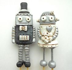 Wedding Cake Topper Black and White Robots by indigotwinweddings, $80.00