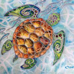 """Honu Island Waters"" Tropical Tribal Sea Turtle Painting by Christie Marie Elder-Ussher"