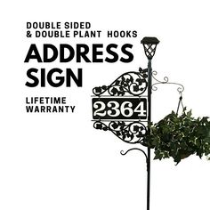 Driveway Address Sign - Double Sided Reflective Address 911 with pole & double scroll and 2 plant hooks with Solar Light Address Sign Address Numbers, Address Plaque, Address Signs, Wine Bottle Tiki Torch, Plant Hooks, Emergency Responder, Front Porch Signs, Tiki Torches, Metal Homes