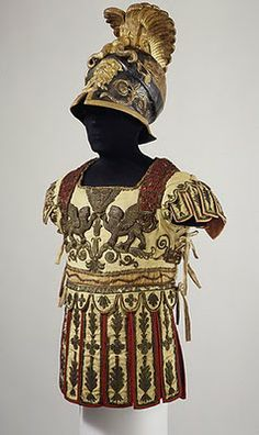 "jeannepompadour: "" ""Costume Armor and Sword in the Classical Style"",used in theatical productions,helmet includes original paper label of Hallé (French, Paris, active c. Ancient Rome, Ancient Greece, Ancient History, Roman Armor, Arm Armor, Samurai Armor, Toulouse, Costume Armour, Halle"