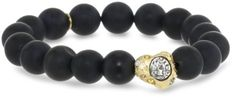 """TAT2 Designs """"Capri"""" Stretch Onyx Bead 1 Gold Nugget Bracelet TAT2 Designs. $92.00. Items that are handmade may vary in size, shape and color. Made in  United States. Onyx beads with 1 gold nugget with vintage silver coins and multi-color crystal stretch bracelet"""
