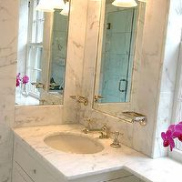 The Wills Company - bathrooms - inset, mirrors, marble, backsplash, white, single, bathroom, cabinet, vanity, marble, countertop, polished nickel, faucet, double sconce, soap dish, wall mounted soap dish, wall mount soap dish, small marble bathroom, inset mirror, inset bathroom mirror,