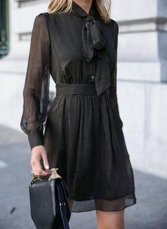 Pinstripe Tie-Neck Dress (MEMORANDUM)