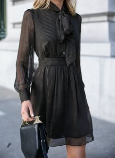 Pinstripe Tie-Neck Dress (MEMORANDUM)