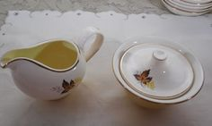 Taylor Smith & T Leaf O' Gold Sugar and Creamer by ShellyisVintage