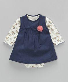 Cream Floral Bodysuit & Deep Chambray Dress