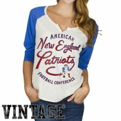 Junk Food New England Patriots Ladies Rookie Raglan Tri-Blend T-Shirt - White/Royal Blue