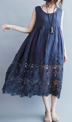 Elegant blue long linen dress plus size high waist long cotton dresses boutique lace hem gown 1