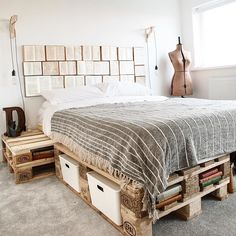 I've had to endure Dominic's daily morning moan about how uncomfortable our mattress is, spend most nights with a spring digging in my back and had to try and squeeze all three of us into a double bed Room Ideas Bedroom, Bedroom Decor, Master Bedroom, Diy Pallet Bed, Wood Pallet Beds, Pallet Bed Frames, Futon Frame, Stylish Bedroom, Cozy Room