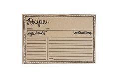 Set of 12 Kraft Letterpress Recipe Cards by olivejuicepress