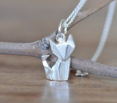 Origami Fox Necklace in Sterling Silver 925, Gold Fox Necklace, Silver Fox…