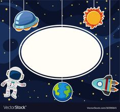 Border template with astronaut in space vector image on VectorStock Space Artwork, Wallpaper Space, Space Party, Space Theme, Astronaut Party, Cute Pastel Wallpaper, Border Templates, Kids Background, School Frame