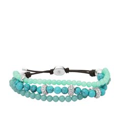 Fossil Beaded Wrist Wrap – Turquoise