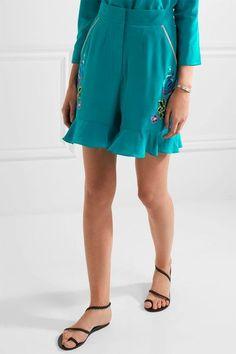 Matthew Williamson - Sakura Embroidered Silk Crepe De Chine Shorts - Light  blue Embroidered Silk da0f4fbe7