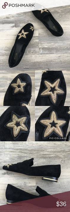 Michael Kors Natasha Star Black Suede Flats Michael Kors Natasha Star Appliqué Black Suede Flats These shoes are so cute but too big for me!  A size 7M in good condition  Some of the beads on the stars are a little messed up make sure to look at 2nd picture.  Also the suede is a little worn but not bad and not super faded. Still have lots of wear to them, 4th pic does show a little white speck that won't come off. But hardly noticeable. Just look carefully at all photos! Michael Kors Shoes…