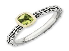 Checkerboard Cut Peridot Sterling Silver 14K Gold Stackable Ring (Online at Gemologica.com)