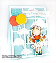 Happy Banner stamp set and Die-namics, Diagonal Stripes Background, Happy Birthday Background, Balloon STAX Die-namics, Cloud Cover-Up Die-namics, Pierced Fishtail Flags STAX Die-namics, Square Grid Cover-Up Die-namics - Cindy Lawrence #mftstamps