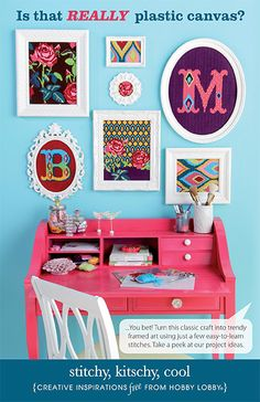 Try this new take on plastic canvas! Great patterns in fun colors make an eye-catching display in monochromatic frames.