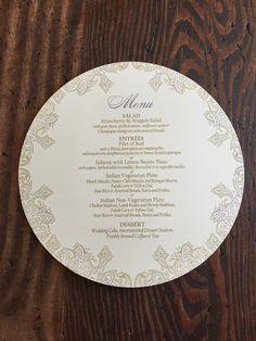 Indian Wedding Menu  7 1/2 inch Circle  by ericksondesign on Etsy