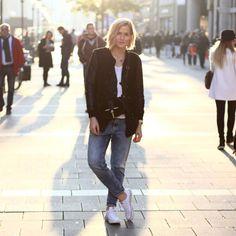 tifmys - Mango leather jacket, Zara bag, H&M cardi and denim & Converse sneakers.