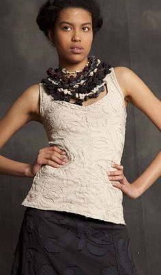 Embroidered tank in nude