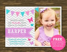 Baby Girl First 1st Birthday Photo Invitation by DesignAndLife ...