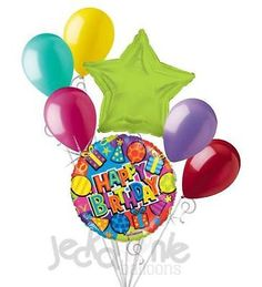7pc Colorful Festive Happy Birthday Balloon Bouquet Party Decoration Present Hat