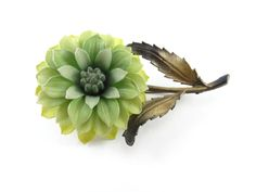 Vintage Green Chrysanthemum, Mum, Flower, Brooch, Pin, Whimsical, Fall, Gifts for Her, Rare