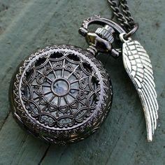 Steampunk pocket watch Necklace key pirate Victorian locket pendant charm DARK Spirited TinySPIDER QUEEN Victoriana Necklace