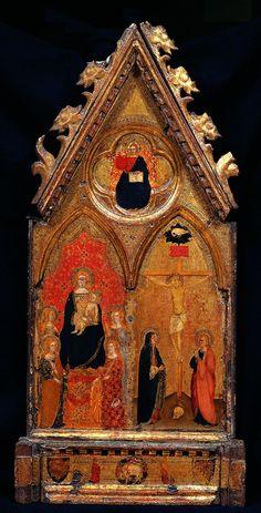 Giottino - Madonna col Bambino in trono e quattro Sante; Crocifissione con la Vergine e San Giovanni Evangelista - 1350 circa - Galleria dell'Accademia di Firenze