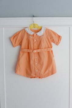 12-18 months: Elephant Embroidered Baby Romper, Apricot Peach with White Collar, Classic Baby Outfit