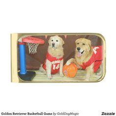 Golden Retriever Basketball Game Gold Finish Money Clip